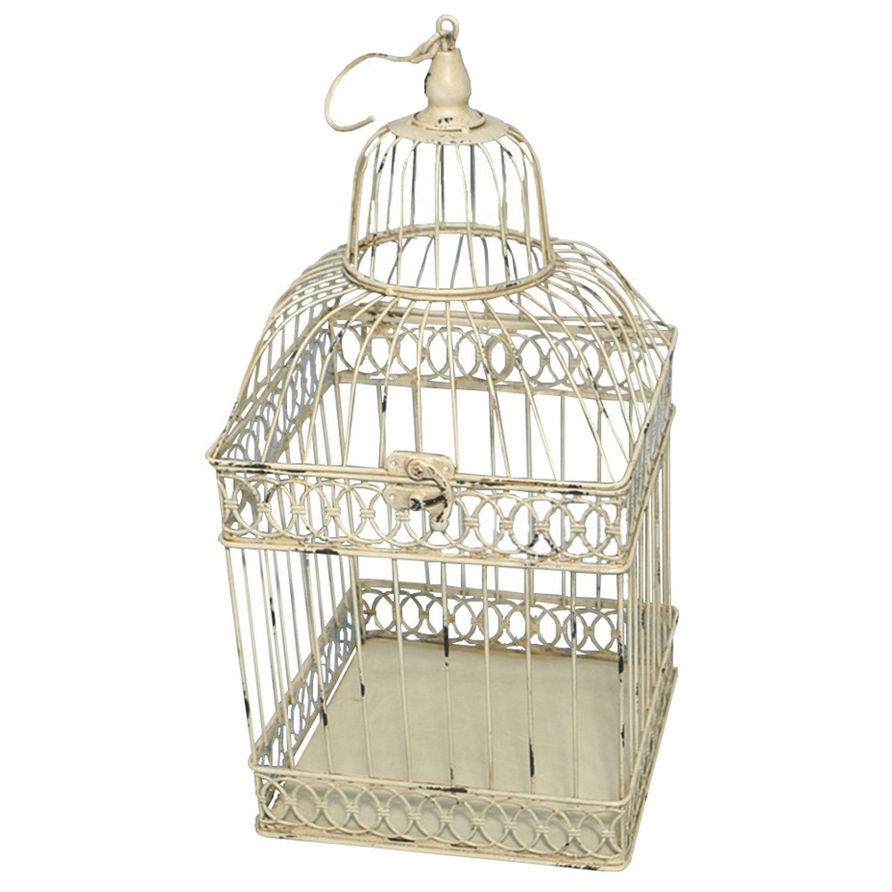 cage oiseau decorative carre antique ivoire. Black Bedroom Furniture Sets. Home Design Ideas